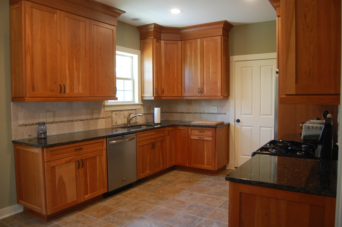 Custom handcrafted natural cherry shaker style for Cherry kitchen cabinets